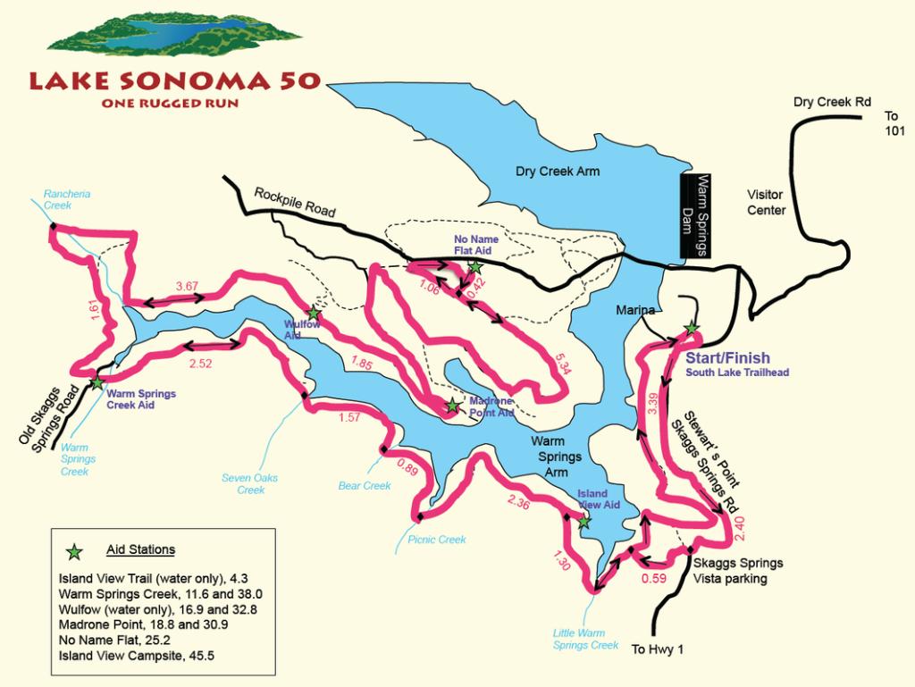 Lake Sonoma 50 - map